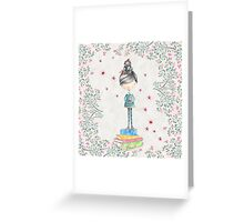 Bookish Girl in Watercolor Greeting Card