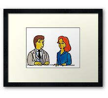 Simpsons Style Mulder and Scully - X Files Framed Print