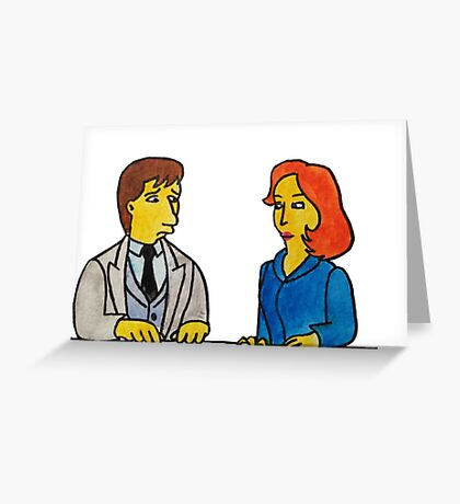 Simpsons Style Mulder and Scully - X Files Greeting Card