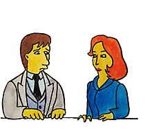 Simpsons Style Mulder and Scully - X Files Photographic Print