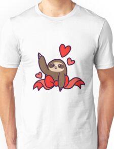 Ribbon Heart Sloth Unisex T-Shirt
