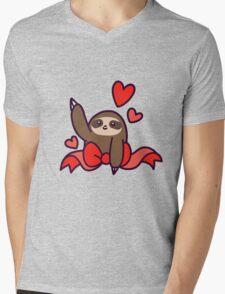 Ribbon Heart Sloth Mens V-Neck T-Shirt