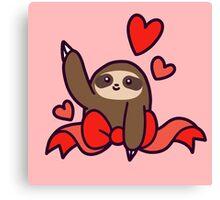 Ribbon Heart Sloth Canvas Print