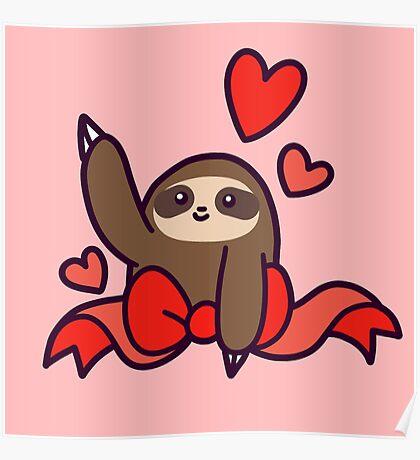 Ribbon Heart Sloth Poster