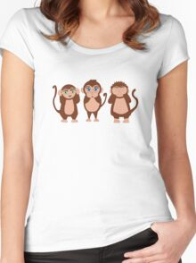 The Wise Monkeys Women's Fitted Scoop T-Shirt