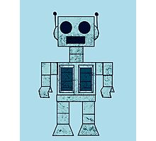 Retro Blue Robot Photographic Print