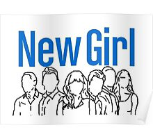New Girl Outline with Logo Poster