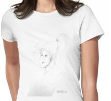 sketch of a woman with windswept hair and long ponytail Womens Fitted T-Shirt
