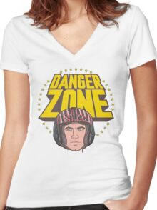 Archer Danger Zone Topgun Head Women's Fitted V-Neck T-Shirt