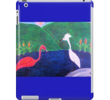 A Flamingo and an Egret at the Beach iPad Case/Skin