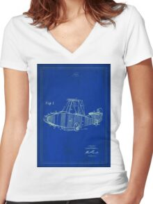 TIR-Airplane - Blue Poster Women's Fitted V-Neck T-Shirt