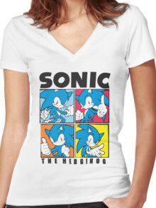 Sonic The Hedgehog 4 in 1 Women's Fitted V-Neck T-Shirt