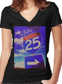 South On 25 Women's Fitted V-Neck T-Shirt