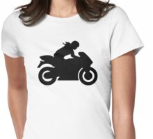 Motorcycle woman girl Womens Fitted T-Shirt
