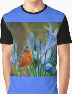 Robin in flowers Graphic T-Shirt