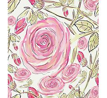 Whimsical Pink Rose Floral Pattern Photographic Print