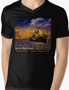 HMS Belfast and Tower Bridge  Mens V-Neck T-Shirt