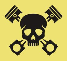 Crossed pistons skull Baby Tee