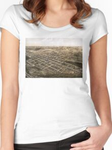 Birds eye view of the city of Coldwater, Michigan - 1868 Women's Fitted Scoop T-Shirt