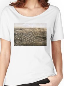 Birds eye view of the city of Coldwater, Michigan - 1868 Women's Relaxed Fit T-Shirt