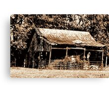 """""""Old Timer's Barn (B&W with a touch of brown)""""... prints and products Canvas Print"""
