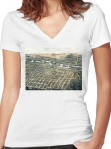 Aurora - Illinois - 1867 Women's Fitted V-Neck T-Shirt