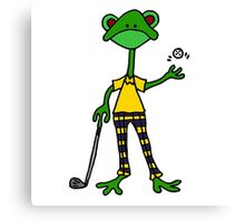 Cool Funny Frog Golfing Canvas Print