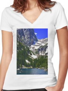 Mountain Lake Serenity  Women's Fitted V-Neck T-Shirt