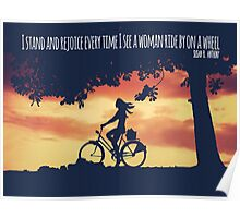 Young Woman Cycling Quote Poster Poster