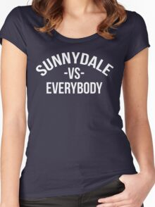Buffy The Vampire Slayer SUNNYDALE VS EVERYBODY Scooby Gang Women's Fitted Scoop T-Shirt
