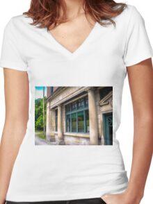 Steady Pillars, Missing Sidewalk Women's Fitted V-Neck T-Shirt
