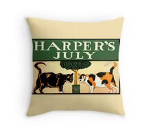 Two calico cats, Edward Penfield, Harper's July 1898 Throw Pillow