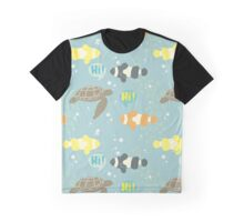 Tropical animals. Clownfishes and sea turtle. Graphic T-Shirt