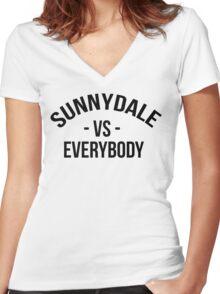 Buffy The Vampire Slayer SUNNYDALE VS EVERYBODY Scooby Gang Women's Fitted V-Neck T-Shirt