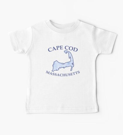 Preppy Vintage Blue Cape Cod Massachusetts Map  Baby Tee