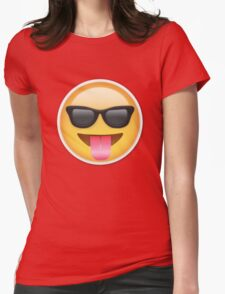 tounge out cool emoji Womens Fitted T-Shirt