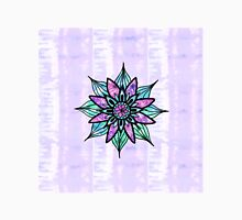 Hand Drawn Watercolor Flower on Purple Tie Dye Women's Fitted Scoop T-Shirt
