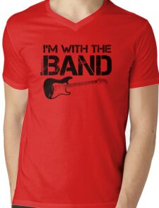 I'm With The Band - Electric Guitar (Black Lettering) Mens V-Neck T-Shirt