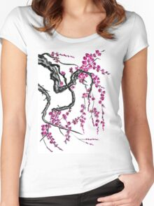 Pink flowers of sakura Women's Fitted Scoop T-Shirt