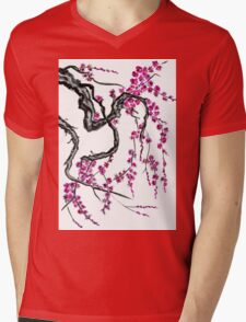 Pink flowers of sakura Mens V-Neck T-Shirt