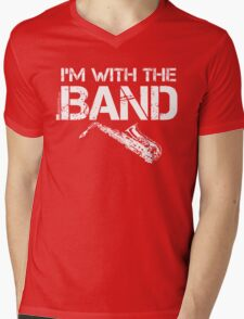I'm With The Band - Saxophone (White Lettering) Mens V-Neck T-Shirt