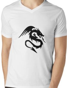Dragon Design Mens V-Neck T-Shirt
