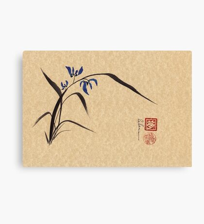 'Morning Orchids'  Sumi-e ink wash painting Canvas Print