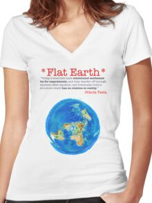 Flat Earth Tee Shirts & More! Women's Fitted V-Neck T-Shirt