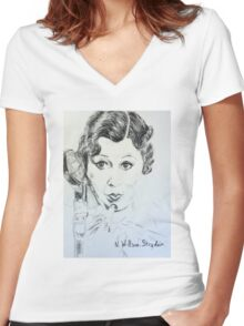 Voice Over Artist, Mae Women's Fitted V-Neck T-Shirt