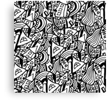 Black and white seamless pattern town houses with doodles.  Canvas Print