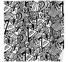 Black and white seamless pattern town houses with doodles.  Poster