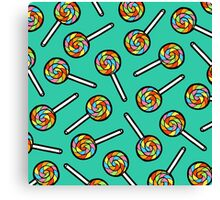Rainbow Lollipop Pattern Canvas Print