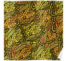 Colorful seamless pattern town houses with doodles. Poster