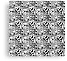Abstract hand drawn black and white seamless pattern  Canvas Print